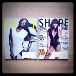 NAOMI CAMPBELL MAGAZINES - LOT OF TWO MAGS - MODEL